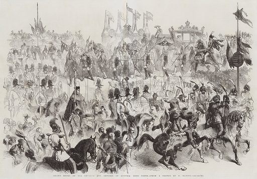 Grand Entry of the Emperor and Empress of Austria into Pesth. Illustration for The Illustrated London News, 6 June 1857.