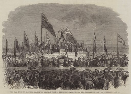 The Earl of Mount Edgcumbe placing the Memorial Stone of the Devonport, Stonehouse, and Cornwall Hospital. Illustration for The Illustrated London News, 5 July 1862.