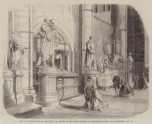 The Last Resting-Place of the late Earl Canning in the North Transept of Westminster Abbey. Illustration for The Illustrated London News, 5 July 1862.