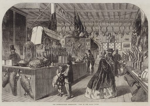 The International Exhibition, View in the Natal Court. Illustration for The Illustrated London News, 5 July 1862.