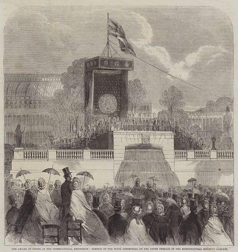 The Award of Prizes at the International Exhibition, Portion of the State Ceremonial on the Upper Terrace of the Horticultural Society's Gardens. Illustration for The Illustrated London News, 19 July 1862.
