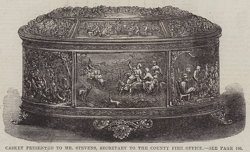 Casket presented to Mr Stevens, Secretary to the County Fire Office. Illustration for The Illustrated London News, 9 August 1862.