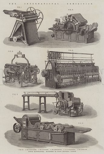 The International Exhibition, Cotton Manufacture, Machinery of Platt Brothers, Oldham. Illustration for The Illustrated London News, 9 August 1862.