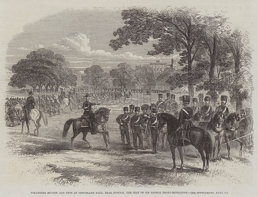 Volunteer Review and Fete at Shrubland Hall, near Ipswich, the Seat of Sir George Broke-Middleton. Illustration for The Illustrated London News, 23 August 1862.