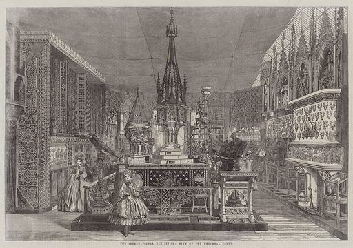 The International Exhibition, View of the Mediaeval Court. Illustration for The Illustrated London News, 30 August 1862.