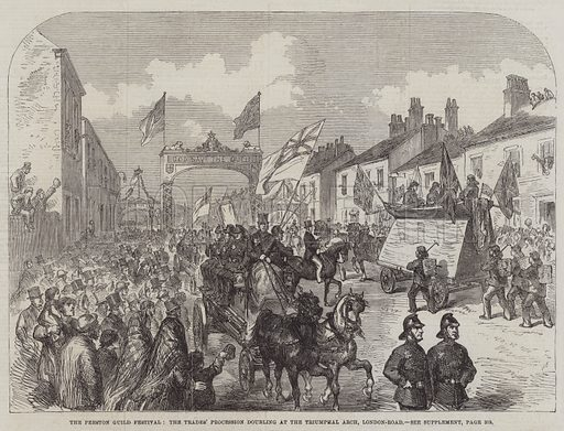 The Preston Guild Festival, the Trades' Procession doubling at the Triumphal Arch, London-Road. Illustration for The Illustrated London News, 20 September 1862.