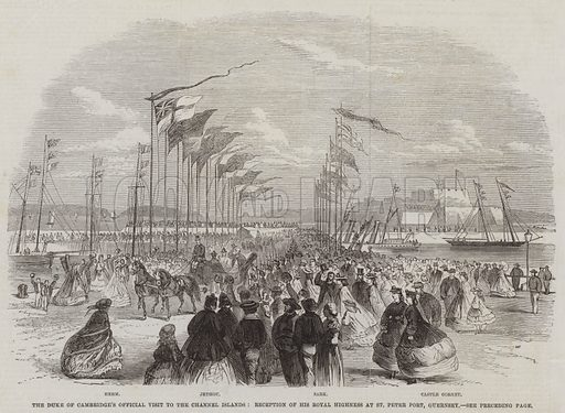 The Duke of Cambridge's Official Visit to the Channel Islands, Reception of His Royal Highness at St Peter Port, Guernsey. Illustration for The Illustrated London News, 4 October 1862.