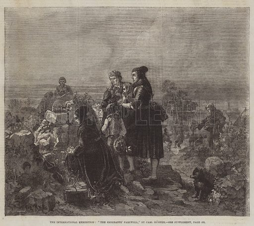 """The International Exhibition, """"The Emigrants' Farewell"""". Illustration for The Illustrated London News, 18 October 1862."""