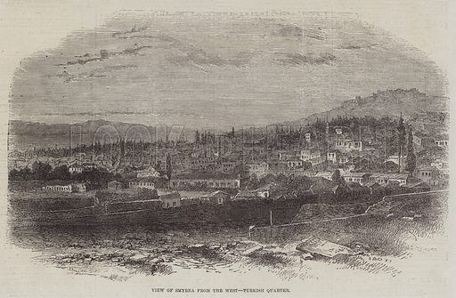 View of Smyrna from the West, Turkish Quarter. Illustration for The Illustrated London News, 18 October 1862.