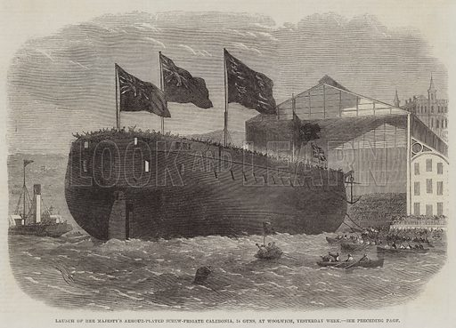Launch of Her Majesty's Armour-Plated Screw-Frigate Caledonia, 31 Guns, at Woolwich, Yesterday Week. Illustration for The Illustrated London News, 1 November 1862.