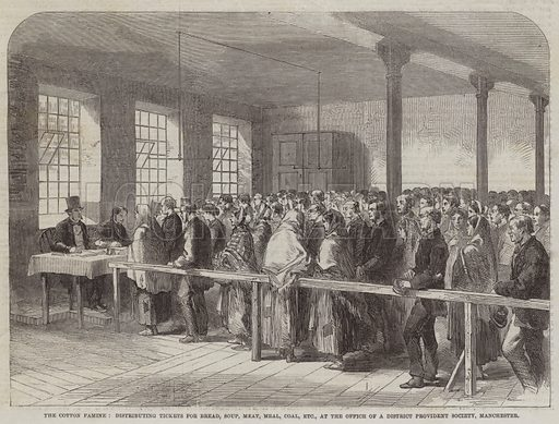 The Cotton Famine, distributing Tickets for Bread, Soup, Meat, Meal, Coal, etc, at the Office of a District Provident Society, Manchester. Illustration for The Illustrated London News, 22 November 1862.