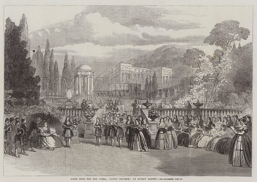 "Scene from the New Opera, ""Love's Triumph"" at Covent Garden. Illustration for The Illustrated London News, 29 November 1862."