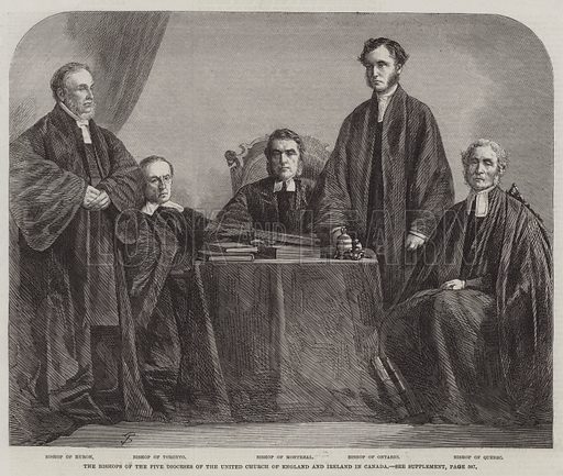 The Bishops of the Five Dioceses of the United Church of England and Ireland in Canada. Illustration for The Illustrated London News, 29 November 1862.