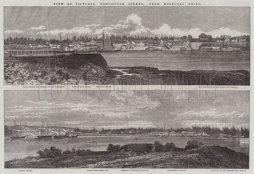 View of Victoria, Vancouver Island, from Hospital Point. Illustration for The Illustrated London News, 10 January 1863.