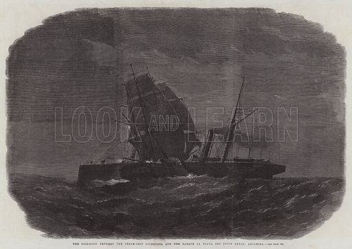 The Collision between the Steam-Ship Liverpool and the Barque la Plata off Point Lynas, Anglesea. Illustration for The Illustrated London News, 24 January 1863.