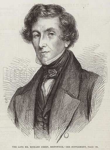 The late Mr Richard Green, Shipowner. Illustration for The Illustrated London News, 31 January 1863.