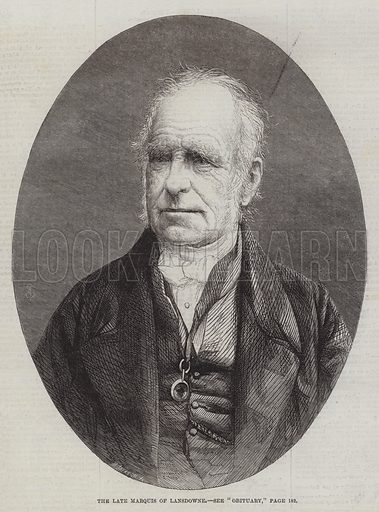 The late Marquis of Lansdowne. Illustration for The Illustrated London News, 14 February 1863.