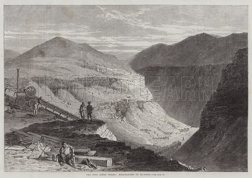The Suez Canal Works, Excavations at El-Girsh. Illustration for The Illustrated London News, 14 February 1863.