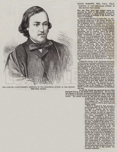 The late Mr Lucas Barrett, Director of the Geological Survey of the British West India Islands. Illustration for The Illustrated London News, 14 February 1863.