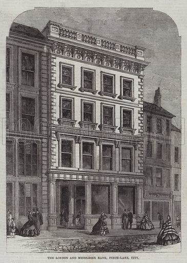 The London and Middlesex Bank, Finch-Lane, City. Illustration for The Illustrated London News, 14 February 1863.