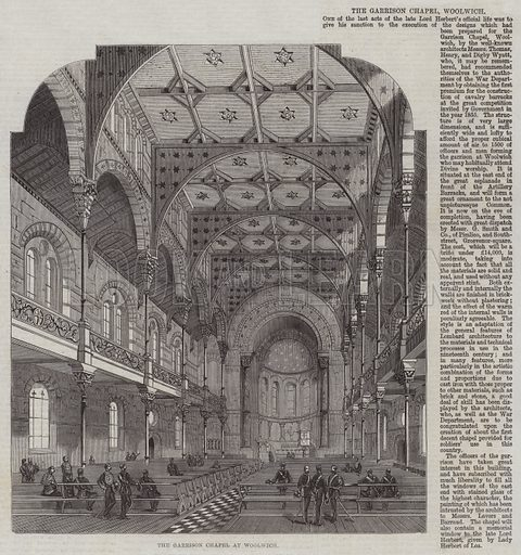 The Garrison Chapel at Woolwich. Illustration for The Illustrated London News, 21 February 1863.