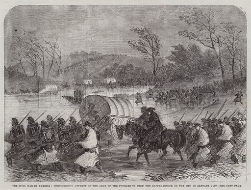The Civil War in America, Unsuccessful Attempt of the Army of the Potomac to cross the Rappahannock on the 20 January Last. Illustration for The Illustrated London News, 28 February 1863.