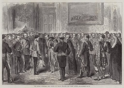 His Royal Highness the Prince of Wales holding his First Levee. Illustration for The Illustrated London News, 7 March 1863.