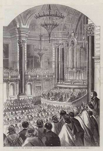 Soiree of the Liverpool Co-Operative Provident Association at St George's Hall. Illustration for The Illustrated London News, 7 March 1863.