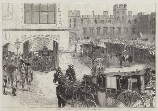 The Princess quitting the Castle for St George's Chapel. Illustration for The Illustrated London News, 21 March 1863.