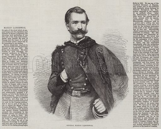 General Marian Langiewicz. Illustration for The Illustrated London News, 4 April 1863.