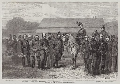 Officers of the Victoria Rifles. Illustration for The Illustrated London News, 11 April 1863.
