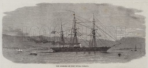 The Alabama at Port Royal, Jamaica. Illustration for The Illustrated London News, 11 April 1863.