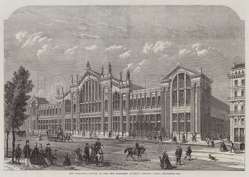 The Principal Facade of the New Northern Railway Station, Paris. Illustration for The Illustrated London News, 18 April 1863.