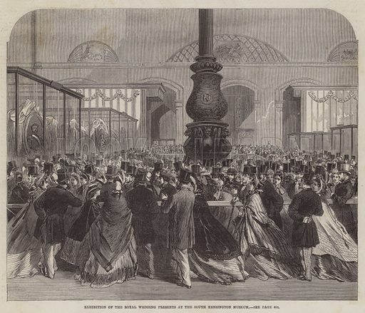 Exhibition of the Royal Wedding Presents at the South Kensington Museum. Illustration for The Illustrated London News, 25 April 1863.