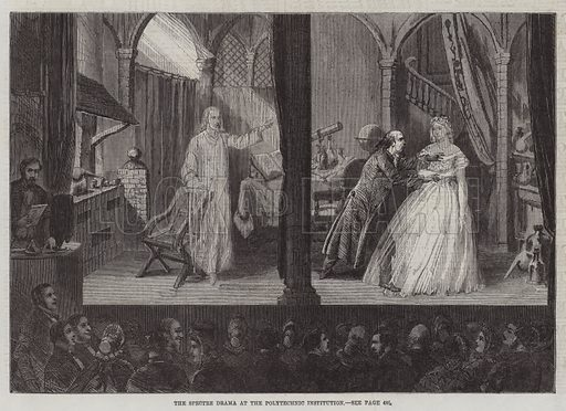 The Spectre Drama at the Polytechnic Institution. Illustration for The Illustrated London News, 2 May 1863.