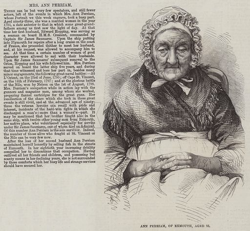 Ann Perriam, of Exmouth, Aged 93. Illustration for The Illustrated London News, 9 May 1863.