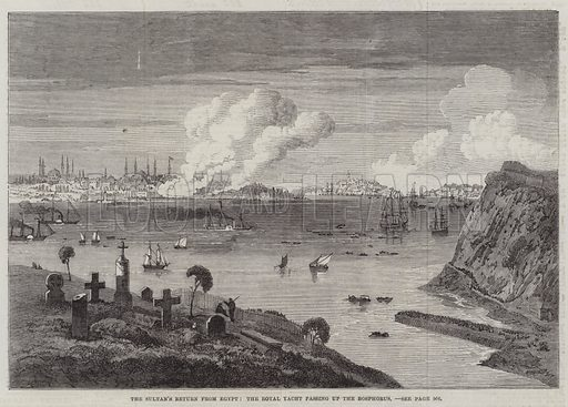 The Sultan's Return from Egypt, the Royal Yacht passing up the Bosphorus. Illustration for The Illustrated London News, 23 May 1863.
