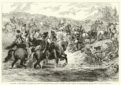 """""""An Army on the March, the Rearguard with the Baggage-Waggons,"""" in the Exhibition of the Royal Academy. Illustration for The Illustrated London News, 23 May 1863."""