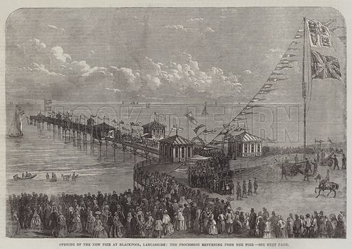 Opening of the New Pier at Blackpool, Lancashire, the Procession returning from the Pier. Illustration for The Illustrated London News, 30 May 1863.