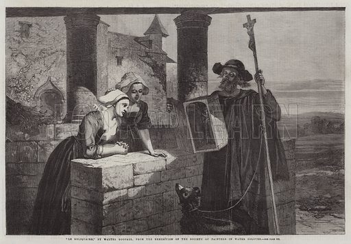 """""""Le Reliquaire,"""" from the Exhibition of the Society of Painters in Water Colours. Illustration for The Illustrated London News, 6 June 1863."""