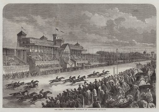 The Great International Horserace at Longchamps. Illustration for The Illustrated London News, 13 June 1863.