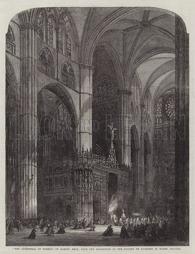 """""""The Cathedral of Toledo,"""" from the Exhibition of the Society of Painters in Water Colours. Illustration for The Illustrated London News, 13 June 1863."""