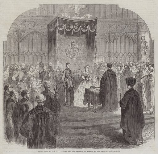 State Visit to the City, presenting the Freedom of London to the Prince. Illustration for The Illustrated London News, 20 June 1863.
