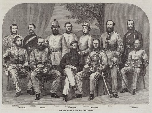 The New South Wales Rifle Champions. Illustration for The Illustrated London News, 20 June 1863.