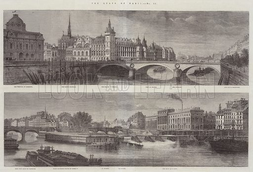 The Quays of Paris. Illustration for The Illustrated London News, 2 May 1863.