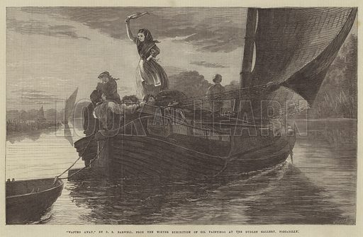 """""""Wafted Away,"""" from the Winter Exhibition of Oil Paintings at the Dudley Gallery, Piccadilly. Illustration for The Illustrated London News, 11 January 1868."""
