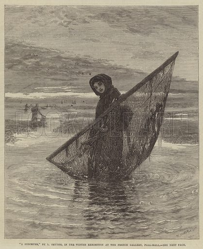 """""""A Shrimper,"""" in the Winter Exhibition at the French Gallery, Pall-Mall. Illustration for The Illustrated London News, 18 January 1868."""