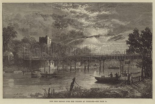 New Iron Bridge over the Thames at Cookham. Illustration for The Illustrated London News, 25 January 1868.