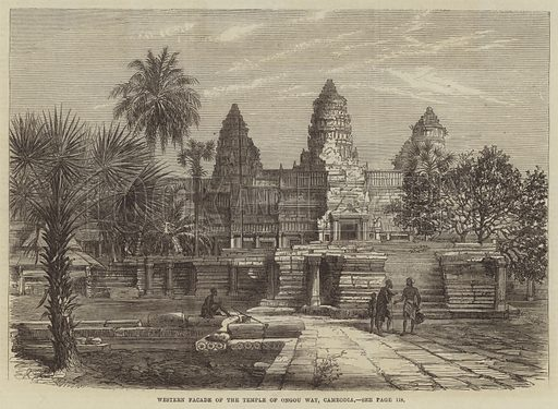 Western Facade of the Temple of Ongou Wat, Cambodia. Illustration for The Illustrated London News, 1 February 1868.