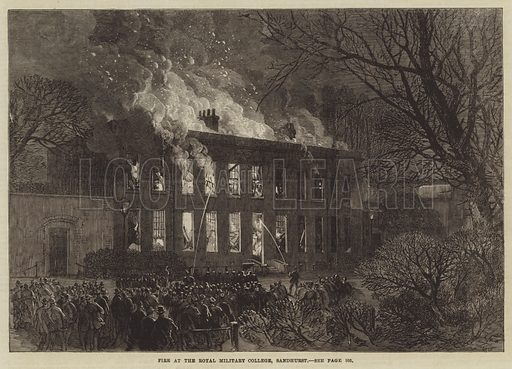 Fire at the Royal Military College, Sandhurst. Illustration for The Illustrated London News, 1 February 1868.